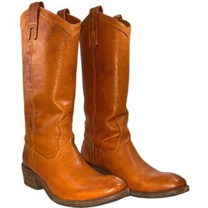 Frye Carson Tan Leather Pull On Western Style Boot